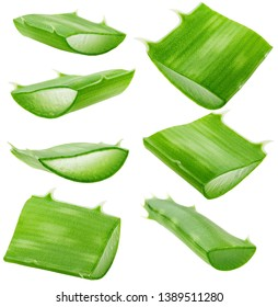 Aloe vera, slice, isolated on white background, clipping path, full depth of field