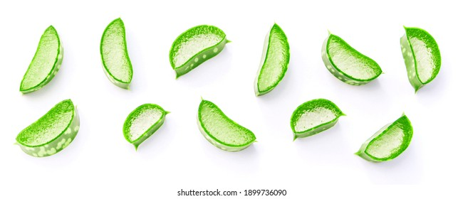 aloe vera slice isolated on white background , top view , flat lay.