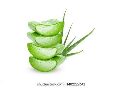 Aloe vera slice on white background.