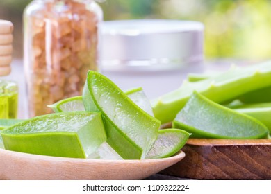Aloe vera slice use in spa for skincare, Natural plant herbal medicine for skin care