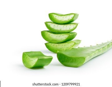 Aloe Vera sliced isolated on a white background - clipping path included