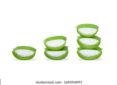 Aloe vera sliced isolated on white background with clipping path