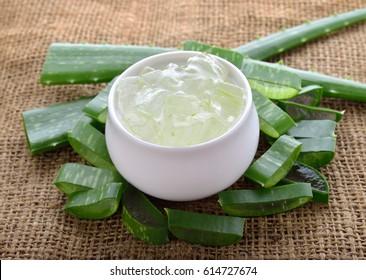 Aloe vera in white bowl