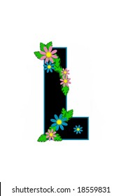 Aloha Alphabet letter L is based in black with turquoise outline.  Lei of Flowers and leaves decorate letter.