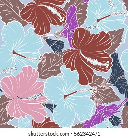 Aloha typography with multicolored hibiscus pattern. Floral illustration for t-shirt print, illustration on neutral background.
