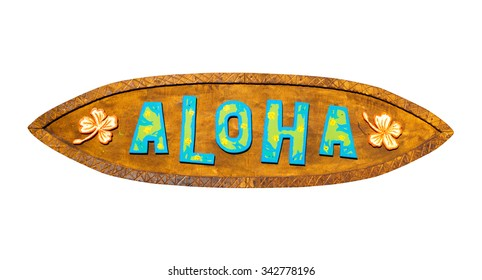 Aloha wooden sign on a white background. Path included.