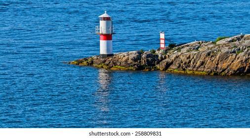 Alone beacon in Stockholm archipelago, Sweden