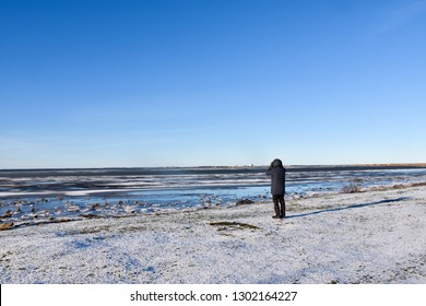 Alone birdwatcher looking at the ice covered water at the swedish island Oland