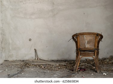 Alone chair in abandoned room