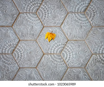 Alone fallen maple leaf on the specific paving tiles of Barcelona.