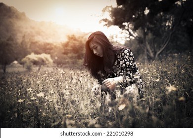 Alone Girl Outdoors. Beautiful Model , Warm Color Tones
