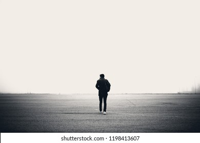 Alone human walking