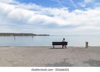 Alone man at the beach