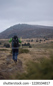 Alone man Treking in Europe.