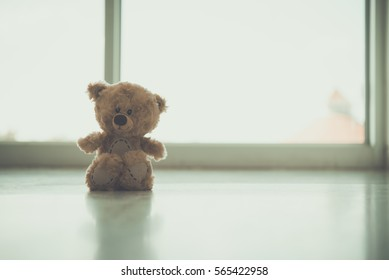 Alone teddy bear vintage style