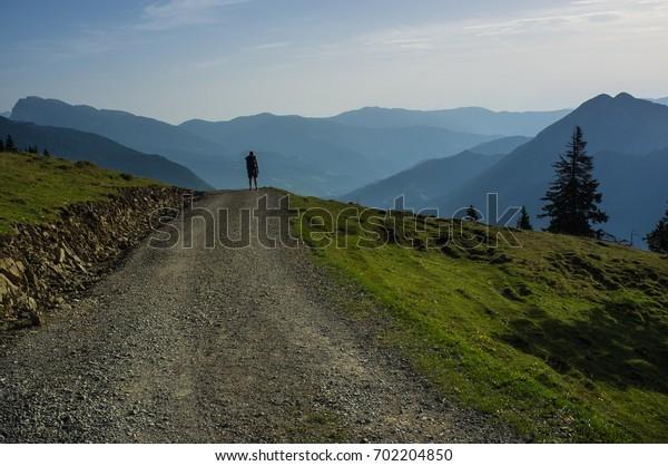 Alone traveler in slovenian alps