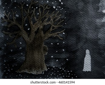 alone under tree at night on Halloween watercolor paint background