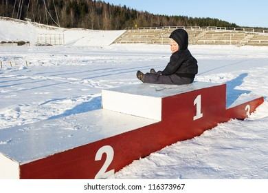 Alone in winter on empty stadium