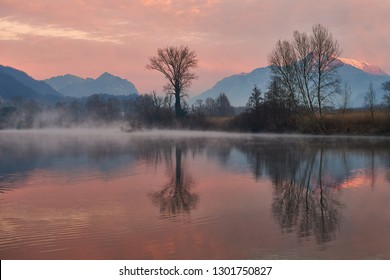 Along the Adda River in winter it is easy to find mist with wonderfool colors