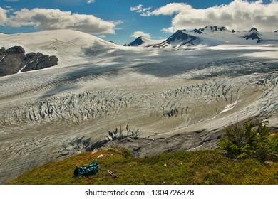 Along the hiking trail beside Exit Glacier in Kenai peninsula, Alaska