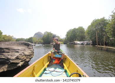 Along the Pute River or Rammang-rammang, the Third Largest Karst in the World, a group of mountain karst in South Sulawesi, precisely in Maros Regency, Makassar, South Sulawesi Indonesia, January 2019