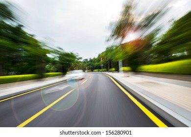 along the road with motion blur.
