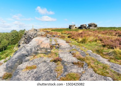 Along the top of Birchen Edge in the Derbyshire Peak District on a bright clear summer morning