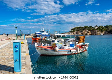 ALONISSOS, GREECE - MAY 2020: Traditional fishing boats in Alonnisos, a picturesque Greek island in Sporades, Aegean Sea, Greece