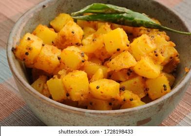 aloo bhaji or potato sabji, Indian food