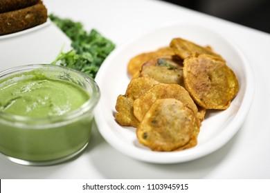 Aloo Pakora with mint chutney