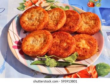 Aloo Tikki or Fried Potato Patties; a popular Indian snack