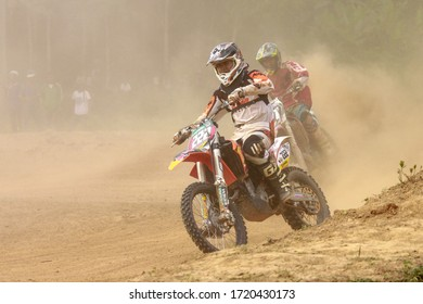 Alor Setar kedah Malaysia, 8 November 2015 -Unidentified motocross riders perform on the competes at Malaysia motocross championship 2015 first round on