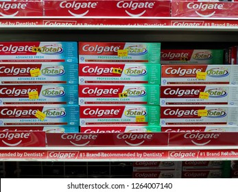 ALOR SETAR,MALAYSIA - DEC 4TH,2018 : Colgate is a brand of toothpaste produced by Colgate-Palmolive