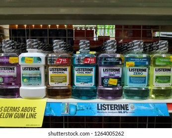 ALOR SETAR,MALAYSIA - DEC 4TH,2018 : Various of Listerine product displayed at supermarket.Listerine is an American brand of antiseptic mouthwash product, founded in 1879 in St.Louis,Missouri.