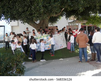 Alora, Spain - January 30, 2017: School children celebrating the annual day of peace in Andalusian Village
