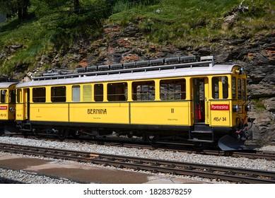 Alp Grum, Switzerland - July 21, 2020 : View of an old train in Alp Grum station
