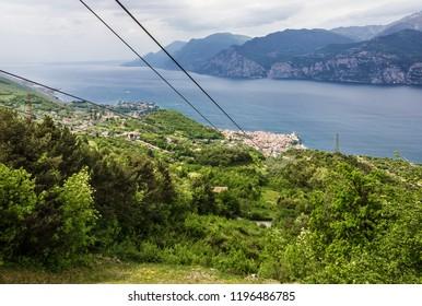 Alp mountain lake view, Monte Baldo, Malcesine, Lombardy, Italy