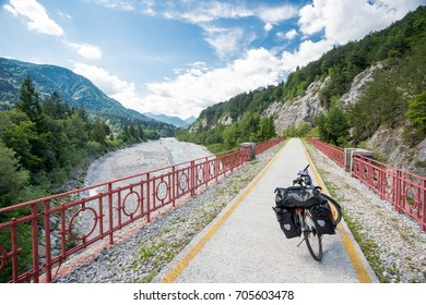 Alpe Adria cycle path, Italy. Touring bike.