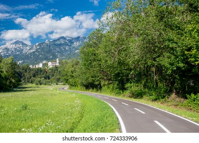Alpe Adria cycle path, Italy. Moggio Undinese Abbey of Saint Gallo