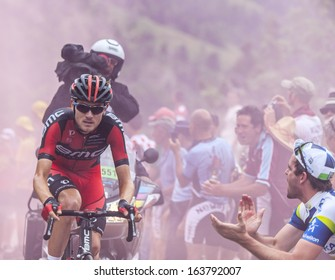 ALPE D'HUEZ, FRANCE, JUL 18:The American cyclist Tejay van Garderen from BMC Team climbing the road to Alpe-D'Huez during the stage 18 of the edition 100 of Le Tour de France on July 18 2013