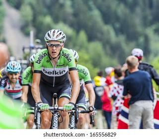 ALPE D'HUEZ, FRANCE, JUL 18:The Dutch cyclist Robert Gesink from Belkin Pro Cycling Team climbing the difficult road to Alpe-D'Huez, during the stage 18 of Le Tour de France on July 18 2013