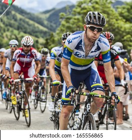 ALPE D'HUEZ, FRANCE, JUL 18:The Australian cyclist Matthew Harley Goss from Orica-GreenEDGE Team climbing the difficult road to Alpe-D'Huez, during the stage 18 of Le Tour de France on July 18 2013