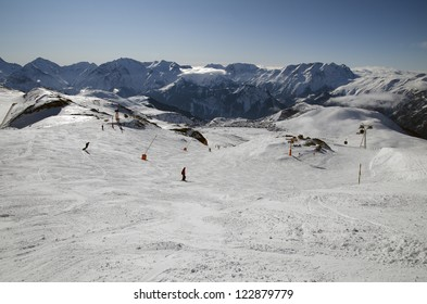 The Alpe d'Huez ski resort, in the French Alps