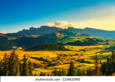Alpe di Siusi or Seiser Alm, wooden huts view Dolomites Alps, Trentino Alto Adige Sud Tyrol, Italy, Europe