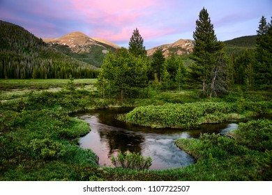 Alpenglow at Indian Peaks Wilderness Area at Sunset