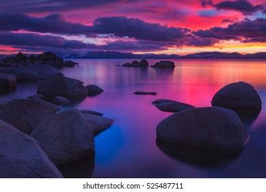 Alpenglow at Lake Tahoe