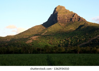 """Alpenglow on the green """"Matterhorn of the South"""", the Mont du Rempart in Tamarin, Mauritius"""