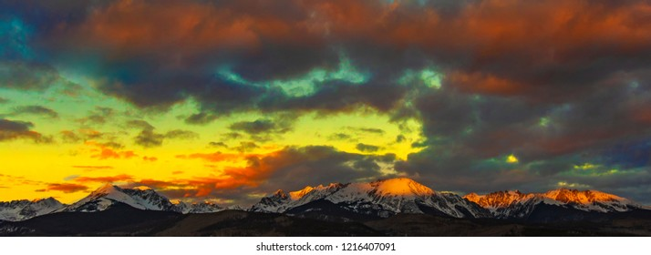 Alpenglow Sunrise on Bloodshaw - The sunrises and creates an alpenglow on the snow capped peak of Mount Bloodshaw in the North Gore Range. Silverthorne, Colorado.