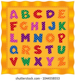 Alphabet Baby Quilt, bright polka dot letters, old fashioned traditional pattern design, gold satin background.