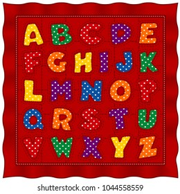 Alphabet Baby Quilt, bright polka dot letters, old fashioned traditional pattern design, red satin background.